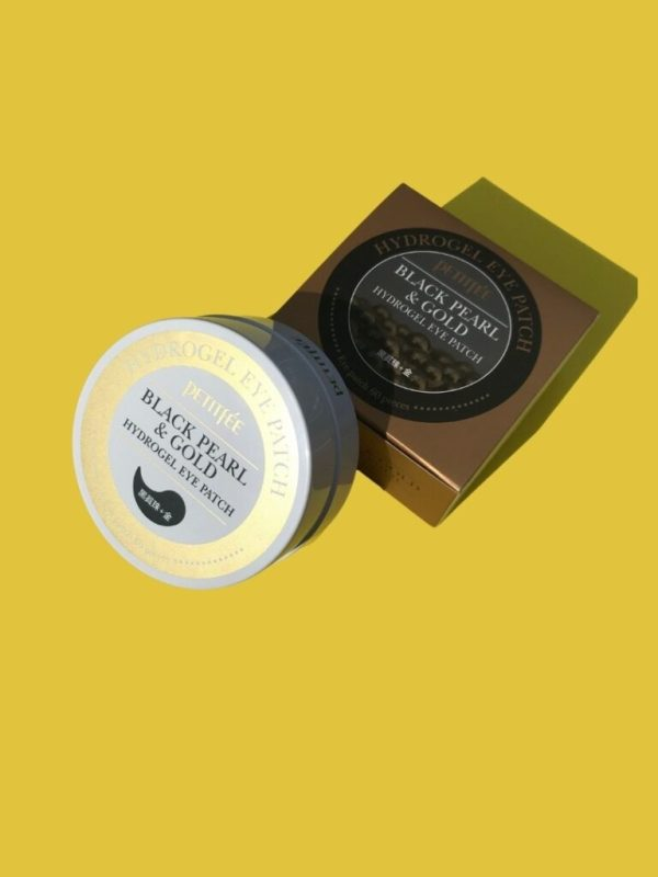 petite black pearl and gold hydrogel eye patches