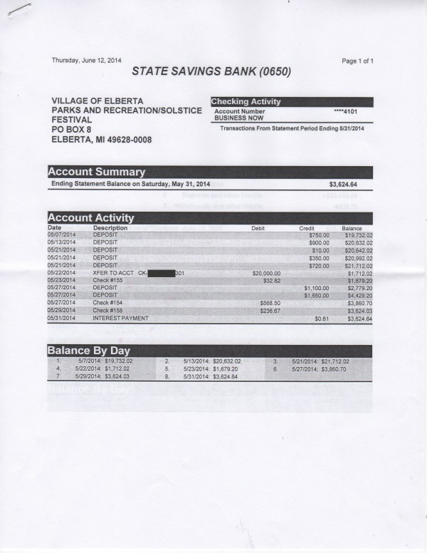 June 12 P&R/Solstice Bank Statement, page 1