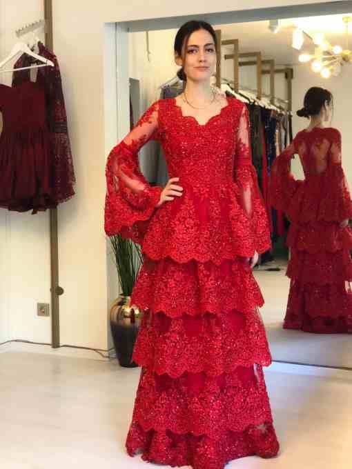 Özel Tasarım Kiralık Kırmızı Kına Elbisesi