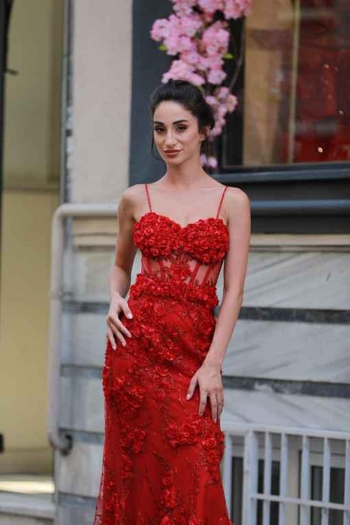 Alfabeta Kırmızı Satılık Kına Elbisesi
