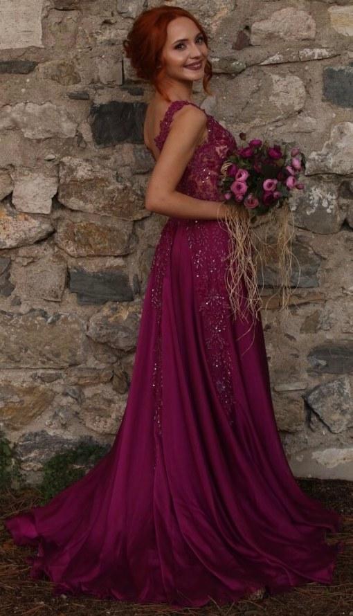Mürdüm Rengi Kiralık Kına Elbisesi