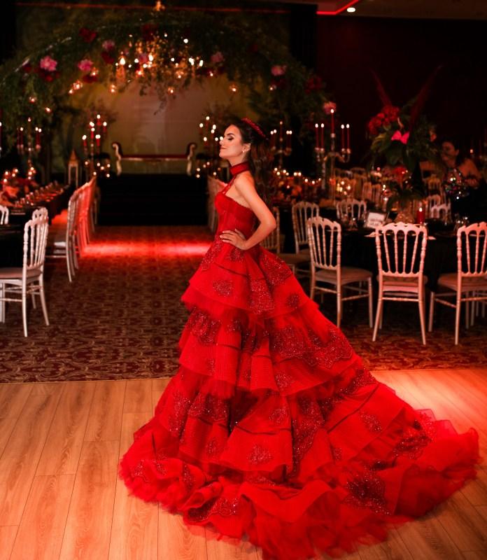 Sagaza Madrid Kırmızı Kiralık Kına Elbisesi