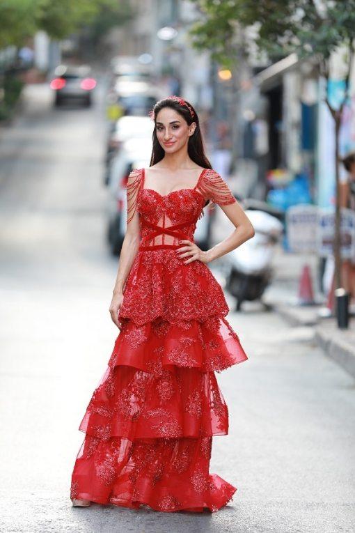 Sagaza Madrid Kiralık Kırmızı Kına Elbisesi