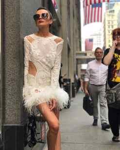 Züleyha Kuru Kiralık Mini Beyaz Elbise