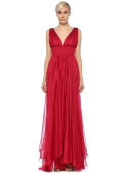 Maria Lucia Hohan Kırmızı Elbise Beli Drapeli Yırtmaçlı Uzun Kiralık Abiye