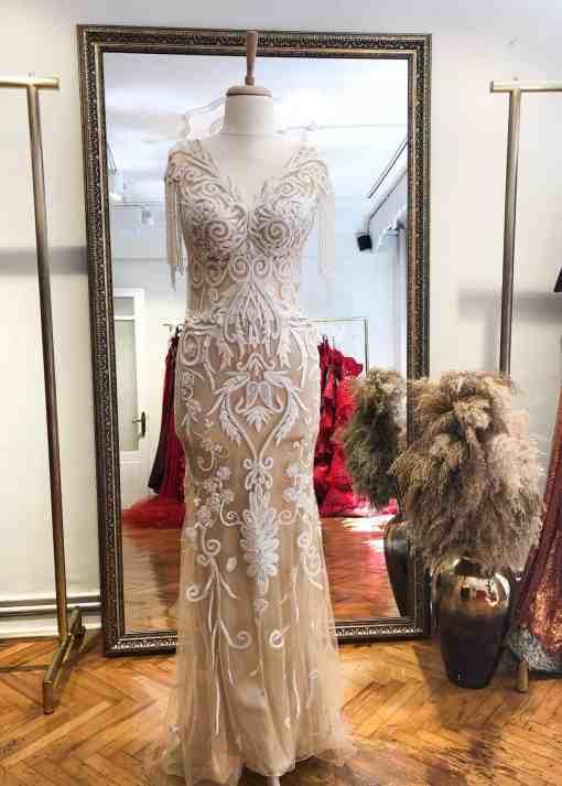 Özel Tasarım Beyaz Kiralık Nişan Elbisesi