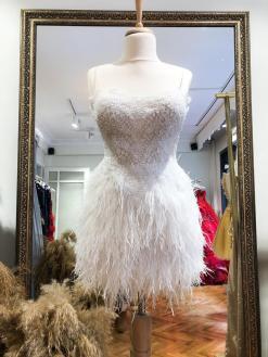 Beyaz Kiralık After Party Elbisesi