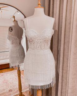 Beyaz Mini Püsküllü Kiralık Elbise