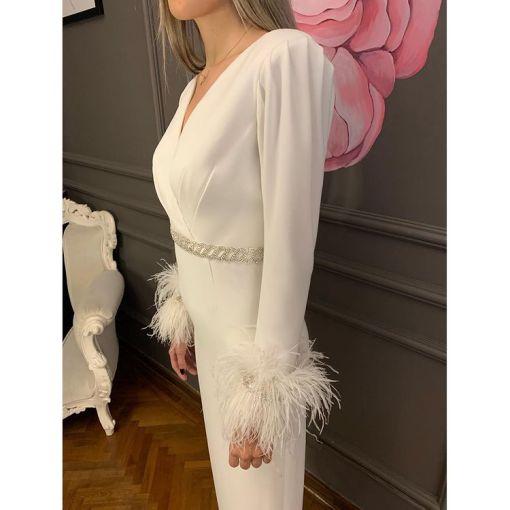 Elif Şimal Beyaz Uzun Kollu Elbise