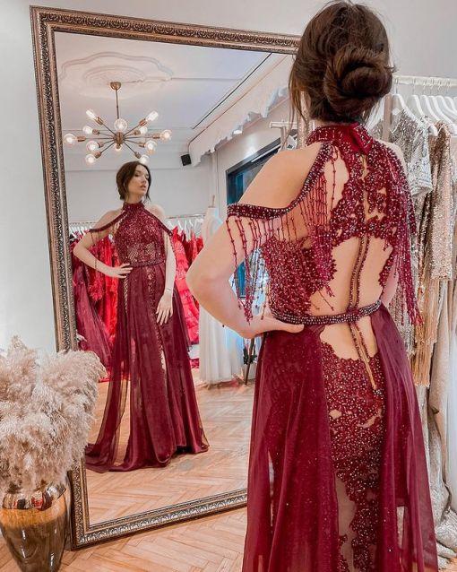 Özel Tasarım Bordo Kına Elbisesi
