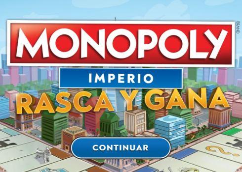 Avanza hasta la casilla de Monopoly Imperio Rasca y Gana