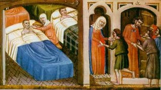 Ilustración de un manuscrito del siglo XIII en el cual se representa la atención en un hospital de la era. No pensábamos siquiera en la Cobertura Universal de Salud. La meta se limitaba a tratar enfremos con las condiciones que se pudiera. Realidad todavía vigente en algunas latitudes.