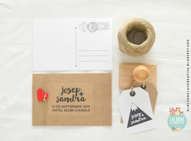 Invitaciones-boda-Kraft-postal-sello-Laucreativa