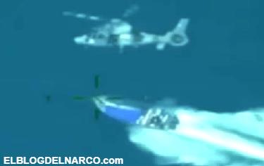 Helicóptero de la marina de México persigue lancha rápida cargada con 2 toneladas de cocaína (VÍDEO)