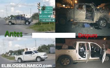 Así quedo reventado el convoy de 15 camionetas del CDG después de una balacera, fueron vistos una semana antes llegar en caravana en Miguel Alemán, Tamaulipas