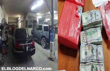 Militares revientan casa de seguridad en Matamoros y decomisan mas de medio millón de dolares, 40 vehículos y armas
