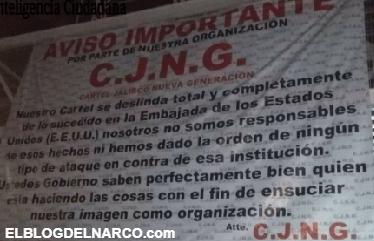 Comunicado, El Mencho y el CJNG se deslidan de Granadazos a embajada gringa