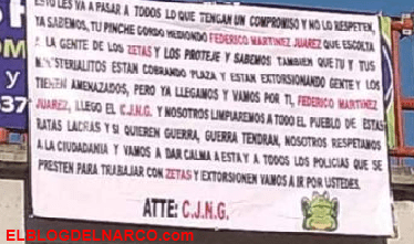 EL Cartel Jalisco Nueva Generación deja narcomantas, ahora en Ixmiquilpan