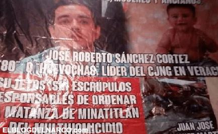 Aparece narcomensaje acusando a El 80, El Lagarto y El Pelón del CJNG de la masacre en Minatitlán.