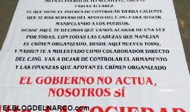 Aparecen Narcomantas en Michoacan contra el Abuelo Farias y el Cártel Jalisco Nueva Generación