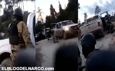 Convoy de sicarios en la sierra vestidos como militares se enfrentan a otro grupo rival (VÍDEO)