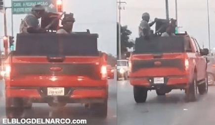 Sicarios del C.D.N patrullando en camioneta artillada con barret calibre 50 en Nuevo Laredo, Tamaulipas