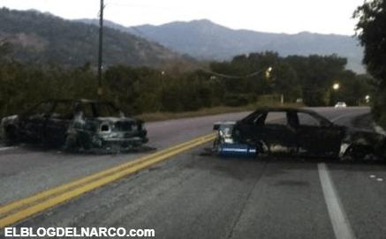 Enfrentamiento entre autodefensas y sicarios de Los Dumbos dejan tres vehículos calcinados...