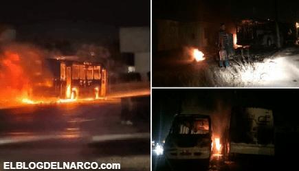 Convoy de sicarios del CDN incendian al menos 6 camiones de SENDA CITI por no pagar cuota en Nuevo Laredo