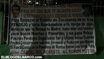 Cartel del Noreste desafía a el Mencho líder del CJNG en Narcomantas en Zacatecas