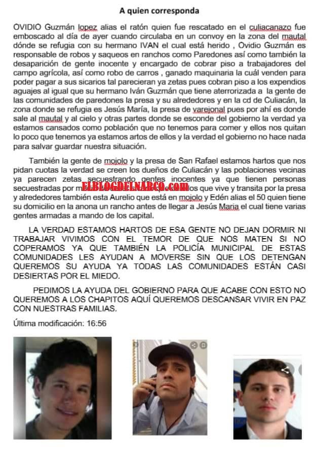 Reporta emboscada a un narco-convoys donde iba Ovidio Guzmán hijo del Chapo Guzmán