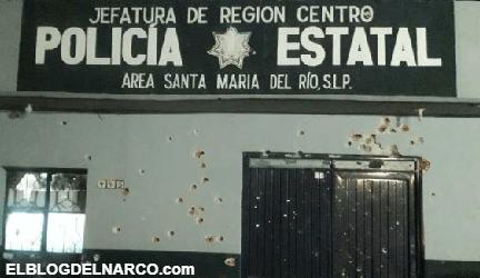 Sicarios rafaguean base de Policía Estatal en Santa Maria del Rio, San Luis Potosí