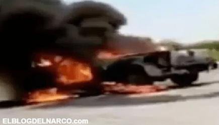 Cártel del Noreste levantan a trabajadores de Pemex y quema camioneta donde viajaban (VIDEO)