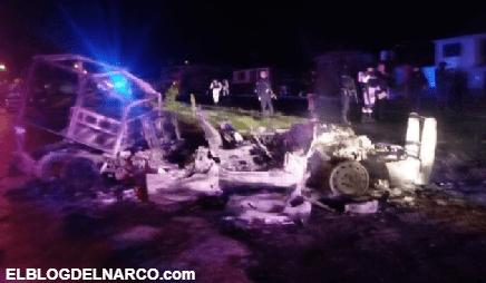 Grupo armado levanta, golpea y quema patrullas de policías en Huajumbaro, Michoacán