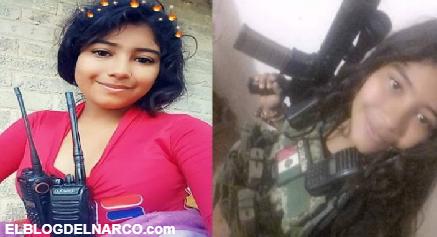 """Fotografías de """"La Chimo"""" sicaria de La Familia Michoacana vestida con ropa Militar y rifle en mano"""