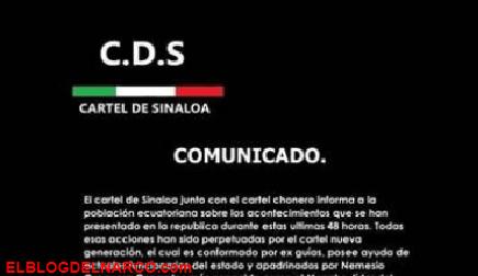 Carteles Ecuatorianos mienten ni al Mencho, Chapitos y Mayo les interesa pelear en otro País