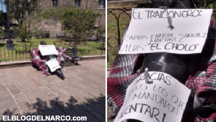 FOTOS 'El Cholo' apareció con Narcomensajes del Mencho clavados el cuerpo