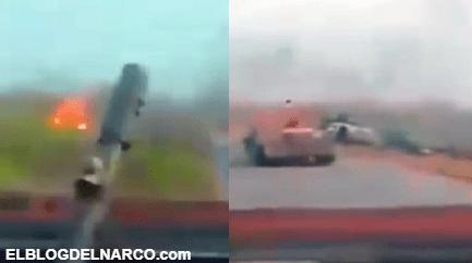 Las impactantes imágenes de un enfrentamiento entre 2 camiones monstruo del narco en Tamaulipas