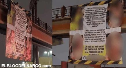 FOTOS Al estilo del Narco con mega manta exhiben a amante en Matamoros, Tamaulipas
