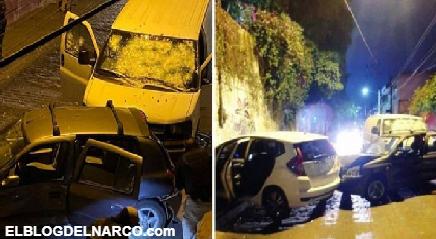 FOTOS Sicarios atravesaron vehículos a elementos de la FGR y los rafaguearon pero los agentes iban en una blindada