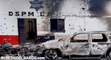 """IMAGENES Grupo armado destruyó una comisaría en Chihuahua por la caída del """"H7″ líder del Nuevo Cártel de Juárez"""