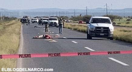 Sicarios abandonan 5 cuerpos a la altura de Rancho Grande, algunos fueron atropellados