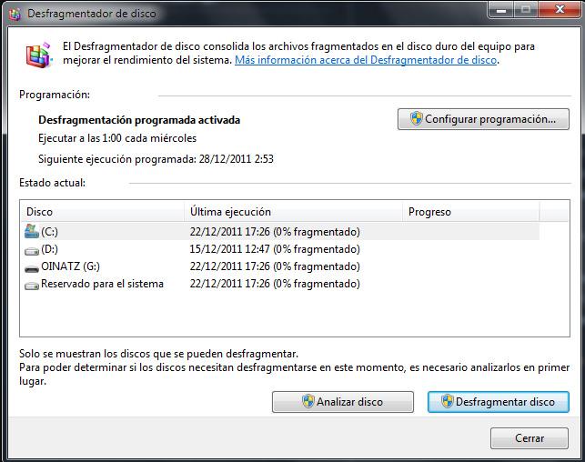 Desfragmentación del disco duro en Windows 7 (4/5)