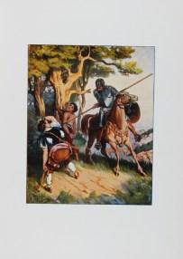 """Don Quijote de la ManchaAcuarela de Salvador Tussell sacada de las célebres composiciones de Gustavo Doré. Procedencia: """"Banco de imágenes del Quijote www.qbi2005.com"""""""