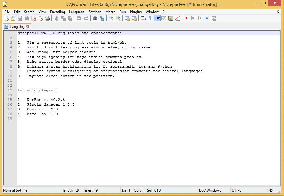 Notepad++ Initial Screen - changelog