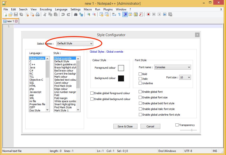 Notepad++ Style Configurator