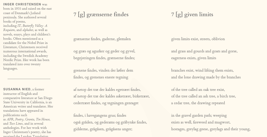 Excerpt of the Alpabet poem by Inger Christensen and translated by Susanna Nied