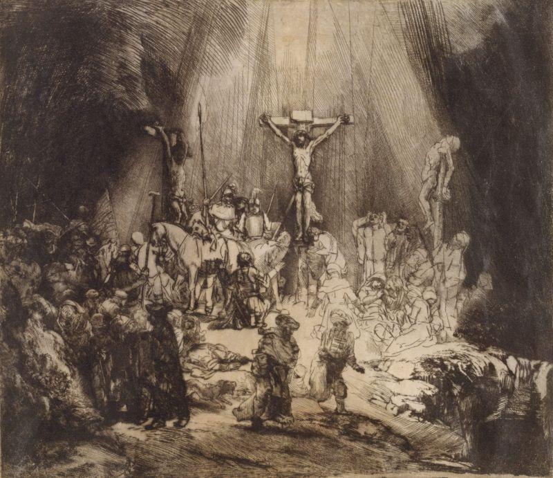 Cristo crucificado entre dos ladrones (Rembrandt, 1653) (Metropolitan Museum, New York)