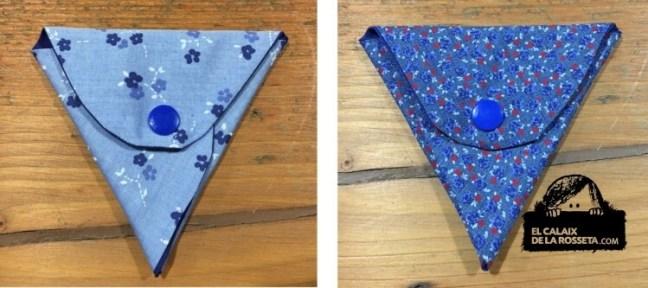 Portamonedas triangulares de tela