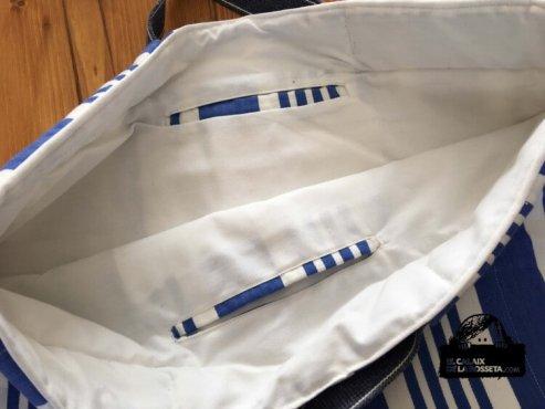 Bolsa tipo capazo con tela de colchón antigüo reciclado