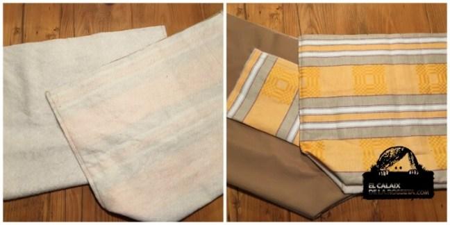 Bolsa tipo capazo en tela de colchón en amarillo
